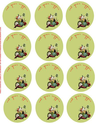 ...download these pretty veggie, vintage-inspired, jar lid labels.  There's also a download for fruit labels, as well.