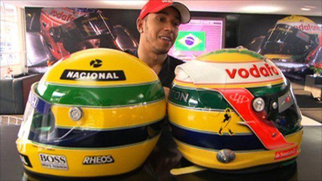 Hamilton explains special Senna tribute helmet in Brazil
