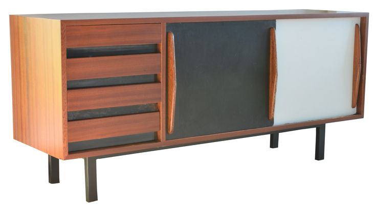 Charlotte PERRIAND, Simon Manufacturer for the city Cansado Mauritania dating from the 60s. It has four drawers and two sliding doors laminated black and white, the veneer is mahogany and the metal frame is lacquered black