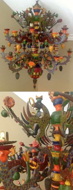 Rare Erzgebirge Affenleuchter/ Monkey Chandelier/Spinne, ca 1890, displayed at Christmas; original paint, 12 monkeys sitting on the arms.  Kudos and thanks to Jerry Arnold for the fantastic restoration!   Susan Bickert collection.