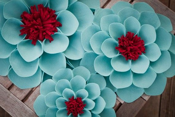 Aqua and Red Wallflowers
