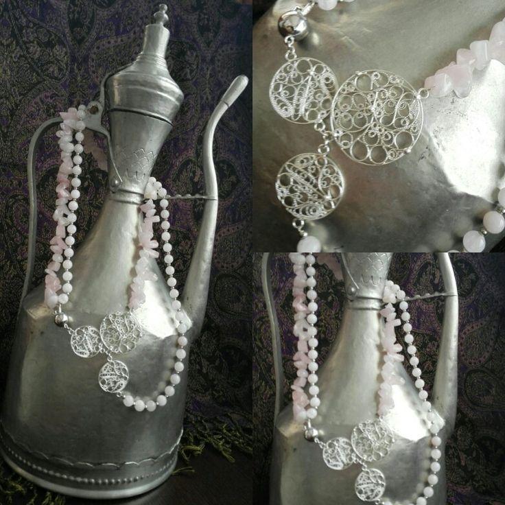 Necklacw,srebrni filigran i Roze kvarc,ručni rad Rozenquarz&fine silver filigrer,handmade