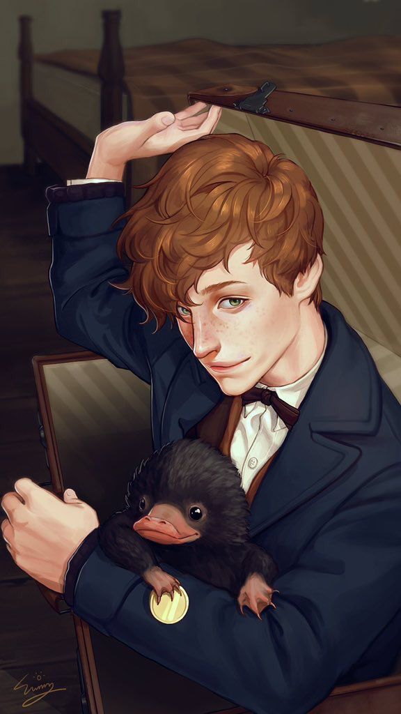 Newt Scamander and the Sniffler - gorgeous fan art