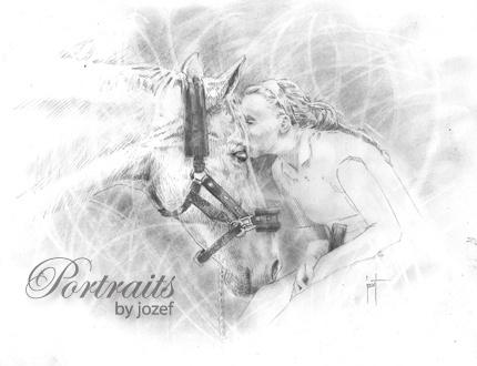 "Equine Sportraiture  14"" x 12"" graphite on paper"