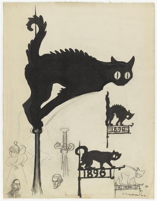 """""""Divers projets d'enseignes surmontées de chats noirs"""" de Théophile Alexandre Steinlen (1859-1923). Paris, musée d'Orsay, conservé au musée du Louvre - Photo (C) RMN-Grand Palais (musée d'Orsay) / Thierry Le Mage"""