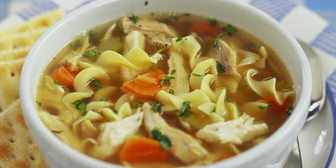 homemade chicken noodle soup I added a large can of cream of chicken soup with 2 cups of water so the broth would be thicker.  FANTASTIC !!