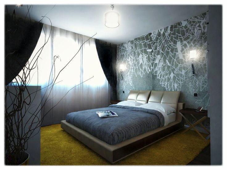 Wallanddeco wallpaper in modern bedroom