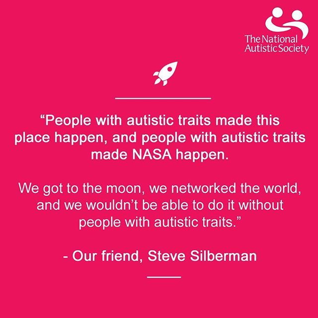 """People with autistic traits made this place happen, and people with autistic traits made NASA happen, we got to the moon, we networked the world, and we wouldn't be able to do it without people with autistic traits."" our friend, Steve Silberman    #Regram via @nationalautisticsociety"