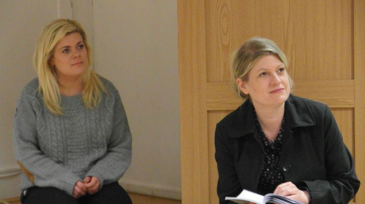 Hannah and Lisa at the readthrough for The Rise and Fall of Little Voice