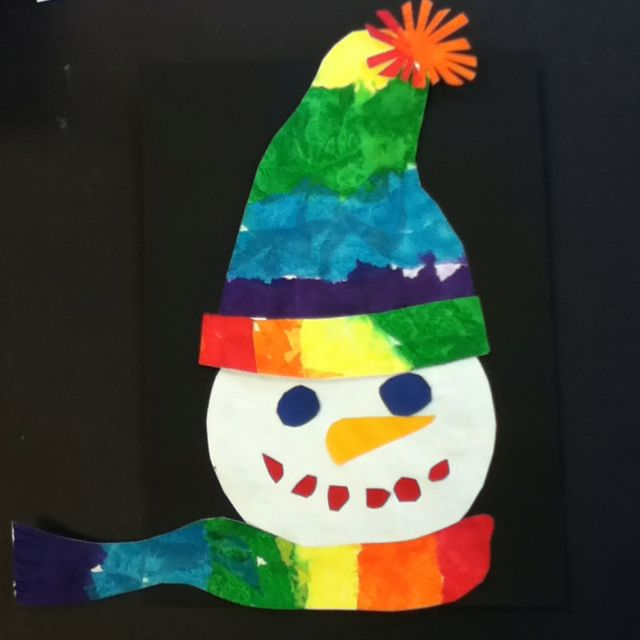snowman! I actually did this with first graders and tissue paper.