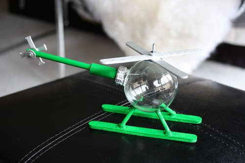 How to Make a Helicopter Ornament from clear glass ornament, popsicle  sticks, dowel, paint  & bamboo skewer.