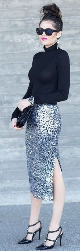 #september #trending #outfits | Black Sweater + Silver Sequin Skirt