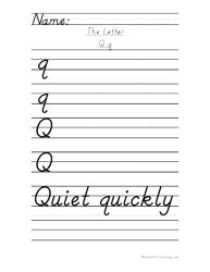 Letter Q Handwriting Practice - D'Nealian - Have Fun Teaching