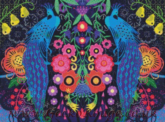 Tavuskuşu Çarmı Dikiş, Kuş Çapraz Çıt Çıt Seti, Emily Boyası, İğne Mendil Seti, Renkli Sanat, Sayılmış Çapraz Stitch Seti, İğne Meşesi, Çiçek Kuşu