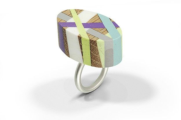"""""""Wood and plastic ring"""" by Laura Jaklitsch. 2011. Wood, polyurethane, sterling silver."""