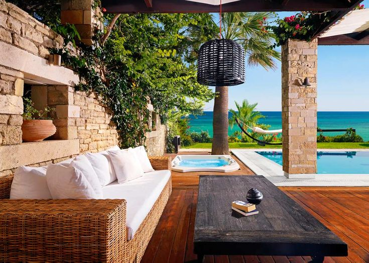 www.portozante.com // Private Pool Lounge Area at Porto Zante Villas and Spa Zakynthos, Greece