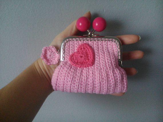 Crochet Coin Purse With Heart by kaizerka on Etsy