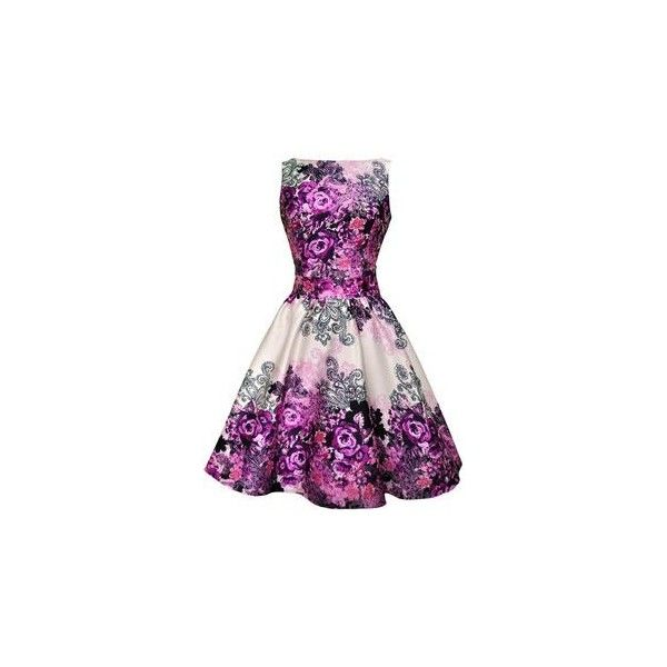 Barely Pink Rose Floral Tea Dress ❤ liked on Polyvore featuring dresses, tea party dresses, vintage tea party dresses, vintage floral dress, pink skater skirt and floral tea dress
