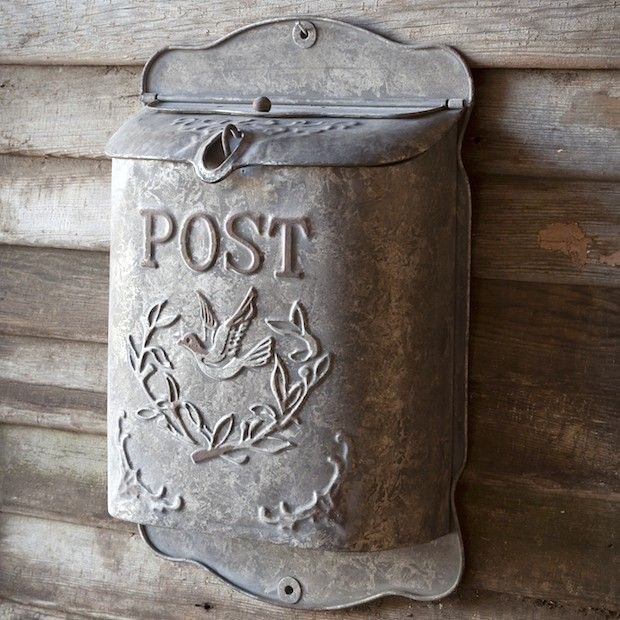 Vintage Metal Mailbox | Embossed Post Box | Vintage Inspired Wall Mounted Mailbox