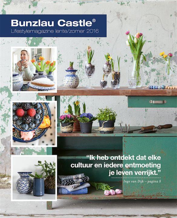 De nieuwe Bunzlau Castle Lifestylemagazine spring/ summer 2016 te verkrijgen bij Geuren met kleuren #Polishpottery #pottery #tableware #home #bunzlau #BunzlauCastle #Stoneware #Bluekitchen #polishblue #Bunzlauservies #kitchen #textile #coffee #tea #teatime #dinner #blue #bake #baking #countrylife #bunzlaucastle #country #blue #blueandwhite #trendy #bohochic #home #handmade #tableware #Mediterranean