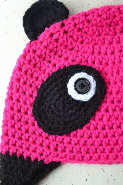 Crochet in Color: The Pink Panda It took me a while to find oval crocheted panda eyes so here they are.