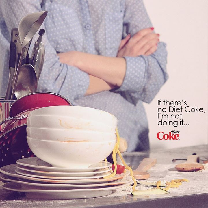 Washing up is made so much easier with Diet Coke...right?