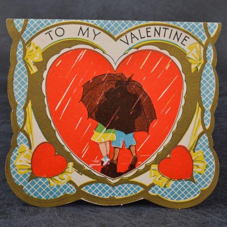 Vintage ART Deco STORMY Weather UMBRELLA Walk RAIN Sweethearts VALENTINE  Card