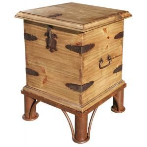 There are so many ways to use this rustic trunk...next to a sofa with a lamp on top or next to a bed as a nightstand.  It can provide seating in any room and there's always storage space inside.    The exterior of decorative iron details and distressed solid pine create a southwestern style that blends well with most other furniture designs.  5 each