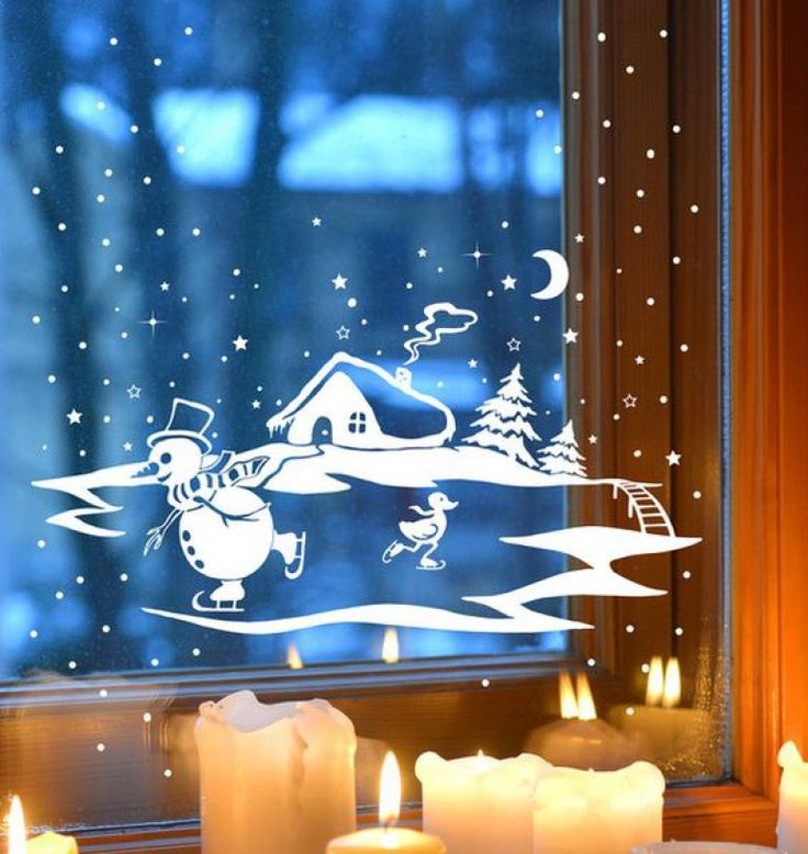 Украшение новогоднего окна картинки