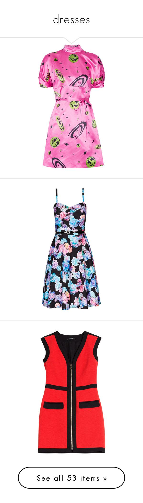 """dresses"" by pasteldemerme ❤ liked on Polyvore featuring dresses, miu miu, pink, tie belt, lace front dress, pink dress, planet dresses, shirred dress, city chic dresses and neon floral dress"