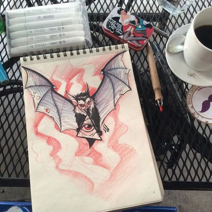 Chilling out and sketching #sketch #bat #bats #allseeing #traditional #neotrad #neotraditional #illustration #mrturn