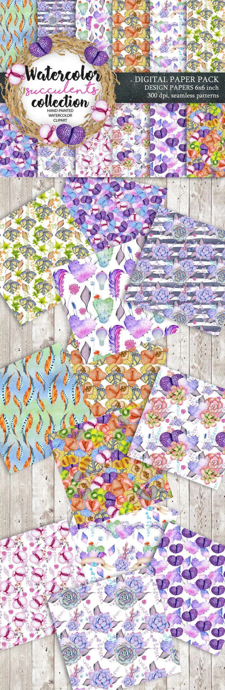 Digital Paper Pack, Waterclor seamless pattern, Watercolor Backgrounds, Floral Scrapbook Paper, Wedding Floral, DIY Pack, Succulent clip art