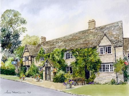 The Old Swan Southrop by Ann March, Ann March, Highworth Artists' Society Highworth Artists' Society, SAA Professional Members' Galleries