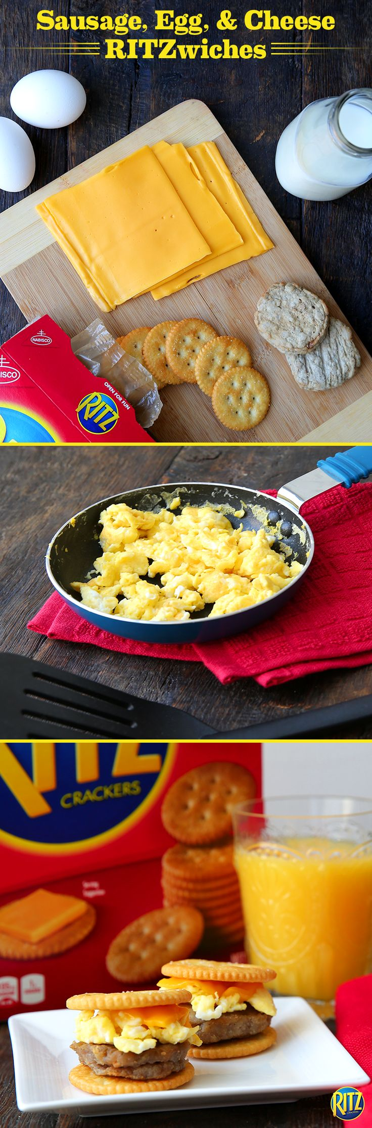 These Sausage, Egg, and Cheese bites are a mini version of everyone's favorite breakfast sandwich. Whisk eggs and milk , cooking in a skillet until set. Shape breakfast pork sausage into one-inch patties and cook until done. Top each cracker with a piece of sausage, egg, and American cheese, baking until cheese melts. Substitute sausage for bacon if that's what you're into!