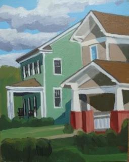 I love painting the sun/shadow effects on my neighbor's houses.