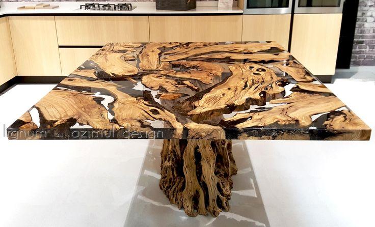 Tavolo in resina epossidica e antico olivo della Calabria, per la base abbiamo conservato una parte del tronco originale, Lignum by Azimut design. Azimut resine. Bespoke table with old olive wood and epoxy clear resin, Lignum by Azimut design