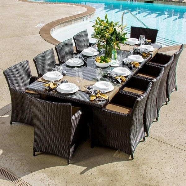 Avery Island 10-Person Resin Wicker Patio Dining Set With Extension... ($3,595) ❤ liked on Polyvore featuring home, outdoors, patio furniture, outdoor patio sets, outdoor furniture, outside table and chairs, wicker patio furniture, all weather wicker patio furniture and extendable dining table set