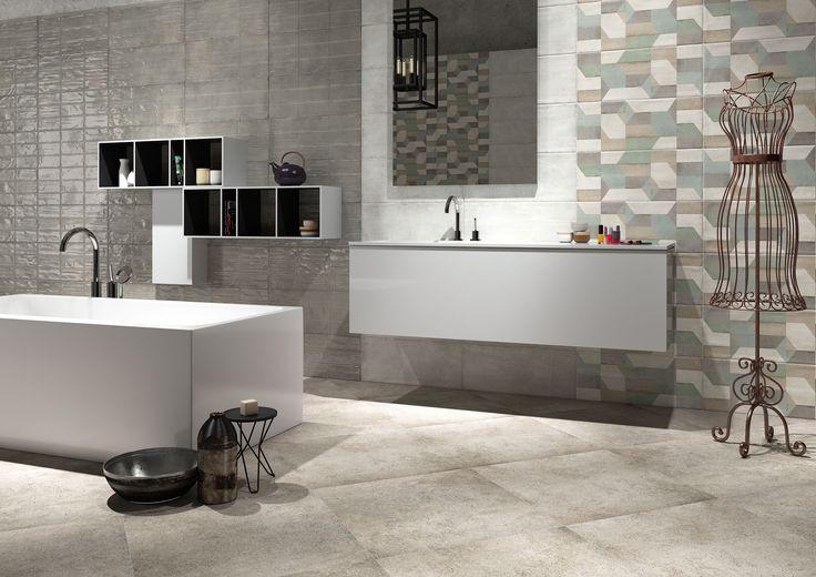 Bathroom be Unique Wall_ Beunique cipria satinato 25x60, brick cenere lucido 25x60, decoro cemento 25x60- Floor_ Undergrounf grigio 60x60