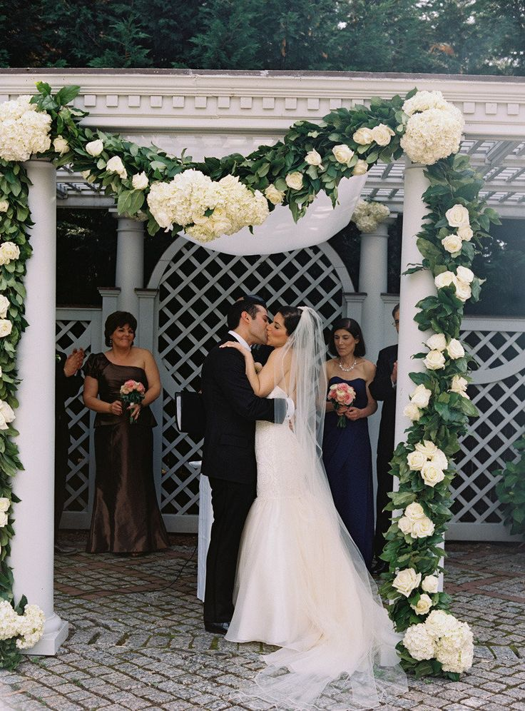 Stunning hydrangea ceremony arch photography http - New york botanical garden wedding ...