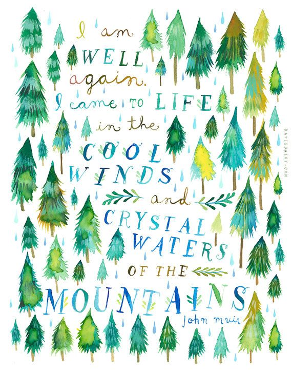 Crystal Waters Art Print | Forest Painting | Watercolor Wall Art | John Muir Quote | Katie Daisy |  8x10 11x14