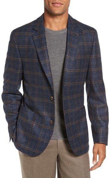 FLYNT Regular Fit Windowpane Plaid Wool Sport Coat