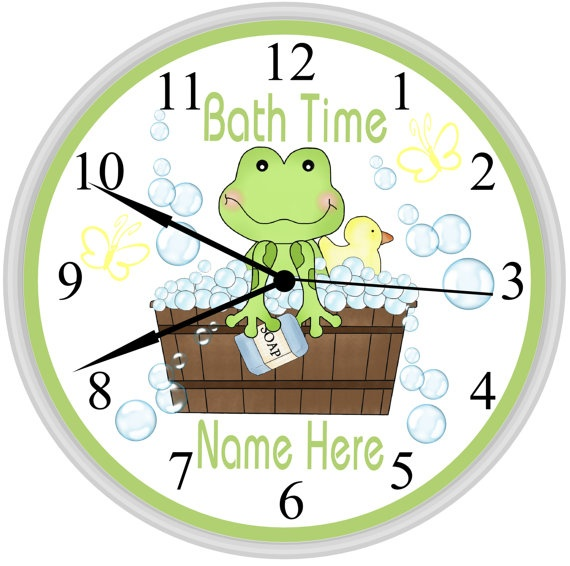 Picture Gallery Website Personalized Bath Time Kids Frog Bathroom Wall Clock Decoration The Perfect Gift For any