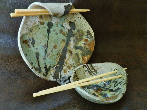 Sushi Plate and Rice Bowl Set for 2 Green White by LisaMelitaArt, $50.00