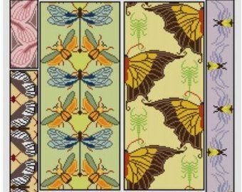 Dit is een adapatation van een Art-nouveaudesign uit het begin van de eeuw. Het kenmerkt blauw orchideeën met gestileerde bladeren en Canarische gele wervelingen.  Het kleurenschema aanpassen aan uw eigen smaak. Kies een één motief, of steek van het hele ding - gebruik je verbeelding... Wees niet bang om te spelen met de patronen! U moet Adobe Reader om uw pdf-bestanden te openen. Dit houdt zowel kleuren- en zwart-wit symbool paginas, en een enkele pagina uitzicht van de afgewerkte ontwerp…