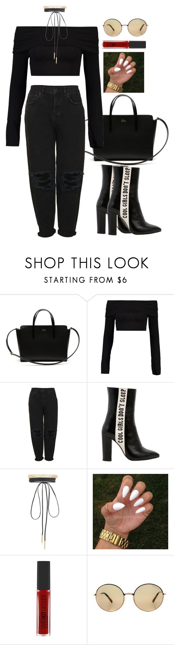 """""""Untitled #1056"""" by karlamichell ❤ liked on Polyvore featuring Lacoste, Boohoo, Boutique, Havva, Lydell NYC, Maybelline and Michael Kors"""