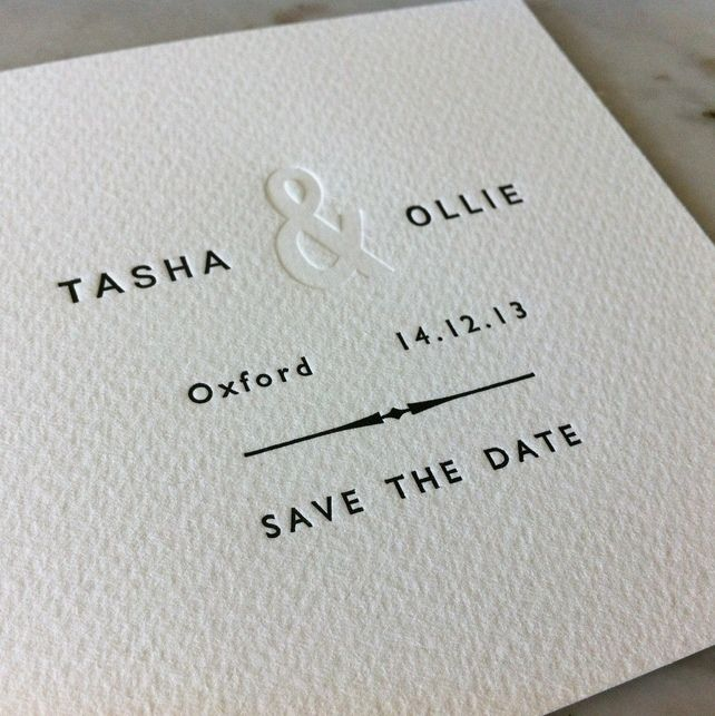 50 x Letterpress Wedding Save The Date Cards, by Little Red Press via Folksy, £90.00