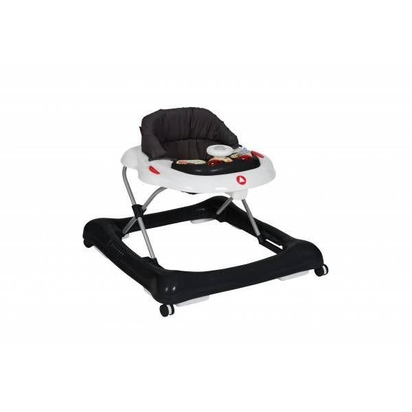 Dit loopstoeltje heeft 4 zwenkwielen een inklapbaar frame en de zithoogte is verstelbaar in 3 posities. http://www.waparoo.com/nl/topmark-loopstoel-casey.html