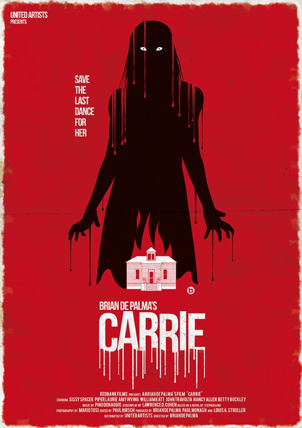 Carrie (1976) ~ Minimal Movie Poster by Alain Bossuyt ~ Halloween Collection #amusementphile