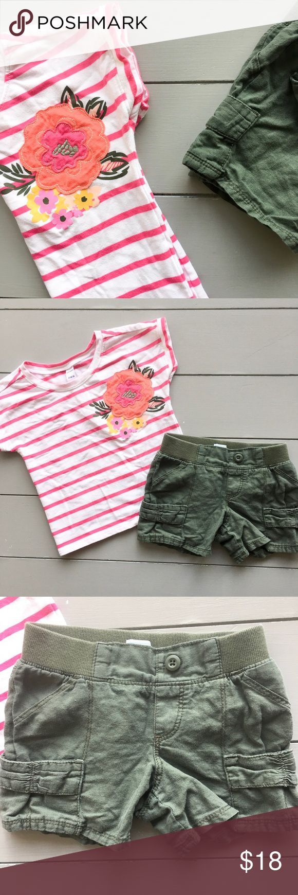 Old Navy Spring outfit Adorable spring/summer outfit for girls, size 4T from Old Navy, in excellent condition, barely worn. Includes striped dolman top with olive linen style shorts. Too cute!💖😍 Old Navy Matching Sets