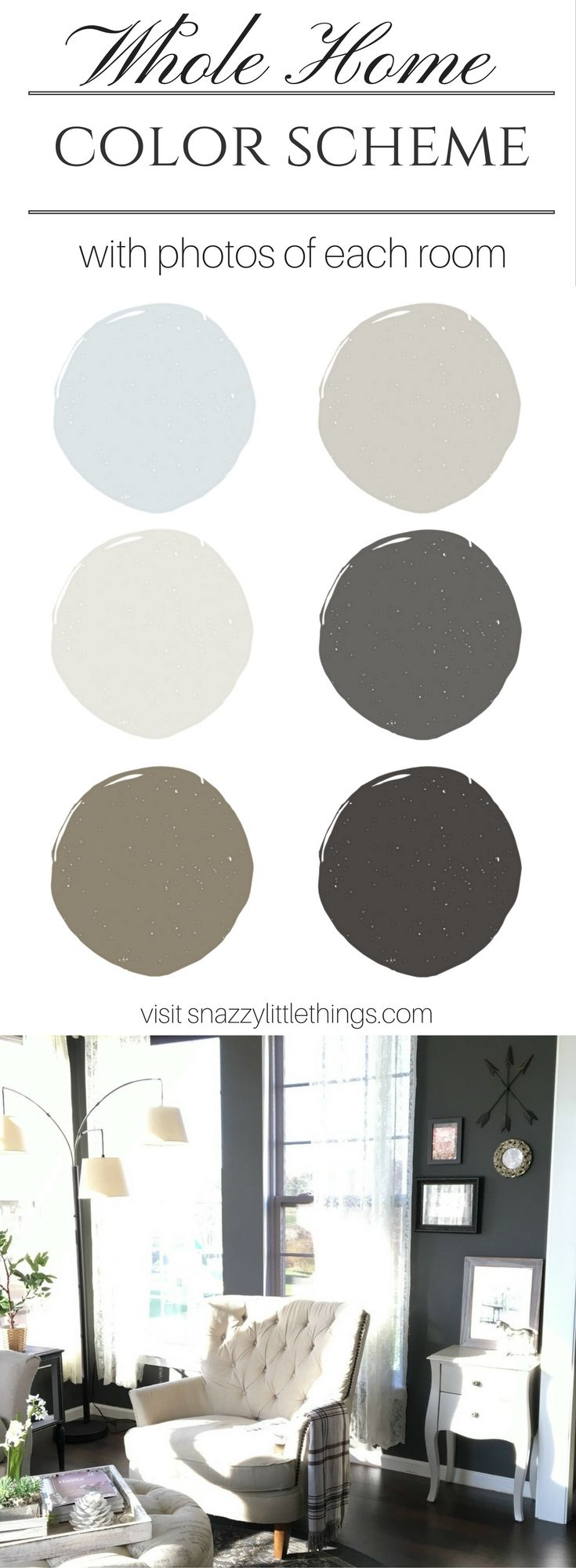 Soothing interior paint colors (with room tours) by Snazzylittlethings.com)